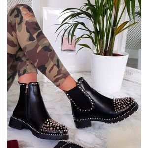 Shoes - NWB BLACK VEGAN LEATHER STUDDED ANKLE BOOT